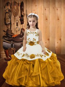 Latest Organza Sleeveless Floor Length Glitz Pageant Dress and Embroidery and Ruffles