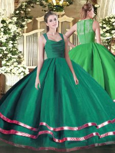 Dynamic Organza Sleeveless Floor Length Sweet 16 Dress and Ruffled Layers