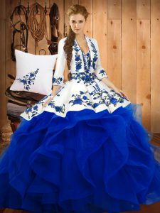 Free and Easy Blue Ball Gowns Sweetheart Sleeveless Satin and Organza Floor Length Lace Up Embroidery Quinceanera Gown