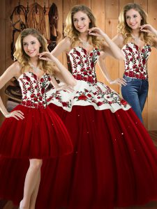 Exceptional Floor Length Wine Red Quinceanera Dresses Satin and Tulle Sleeveless Embroidery