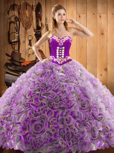 Multi-color Sweetheart Neckline Embroidery Quinceanera Gowns Sleeveless Lace Up