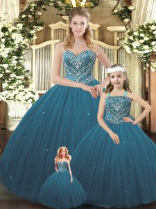Shining Sleeveless Tulle Floor Length Lace Up Quinceanera Gowns in Teal with Beading