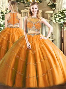 Floor Length Orange Sweet 16 Quinceanera Dress Scoop Sleeveless Zipper