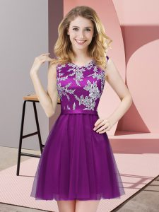 Custom Fit Sleeveless Lace Side Zipper Court Dresses for Sweet 16