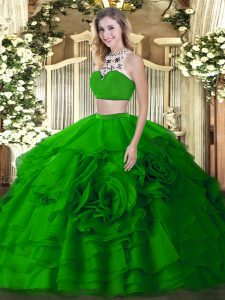 Shining Sleeveless Backless Floor Length Beading and Ruffled Layers Quinceanera Dresses