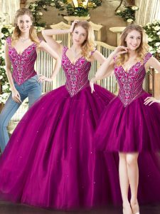 Free and Easy Floor Length Fuchsia Quinceanera Gowns Tulle Sleeveless Beading
