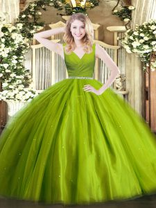 Luxury Beading Sweet 16 Quinceanera Dress Olive Green Zipper Sleeveless Floor Length