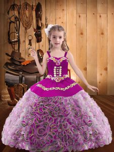 Multi-color Fabric With Rolling Flowers Lace Up V-neck Sleeveless Floor Length Pageant Dress for Teens Embroidery and Ruffles