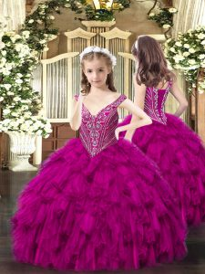 Fuchsia Ball Gowns V-neck Sleeveless Organza Floor Length Lace Up Beading and Ruffles Kids Pageant Dress