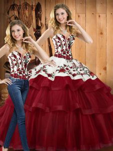 Dramatic Sleeveless Sweep Train Lace Up Embroidery Sweet 16 Dresses