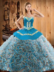 Customized Satin and Fabric With Rolling Flowers Sleeveless With Train Quinceanera Gown Sweep Train and Embroidery