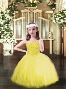 Luxurious Yellow Ball Gowns Beading Pageant Dress Toddler Lace Up Tulle Sleeveless Floor Length