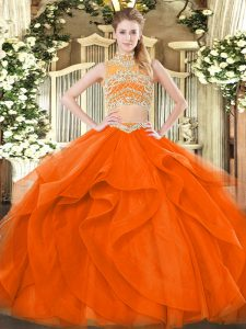New Arrival Tulle Sleeveless Floor Length 15 Quinceanera Dress and Beading and Ruffles