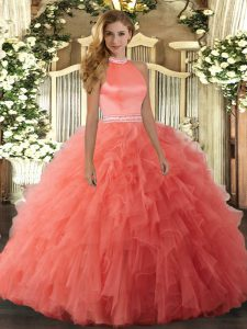 Super Orange Red Halter Top Neckline Beading and Ruffles Ball Gown Prom Dress Sleeveless Backless