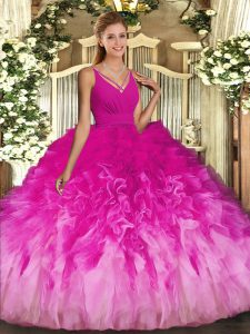 V-neck Sleeveless Sweet 16 Dresses Floor Length Ruffles Multi-color Tulle