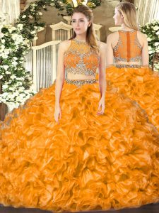 Orange Red 15th Birthday Dress Military Ball and Sweet 16 and Quinceanera with Beading and Ruffles Scoop Sleeveless Zipper