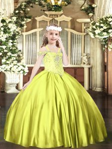 Classical Yellow Green Lace Up Off The Shoulder Beading Pageant Dress for Womens Satin Sleeveless