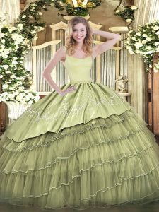 Lovely Organza Sleeveless Floor Length 15th Birthday Dress and Embroidery and Ruffled Layers