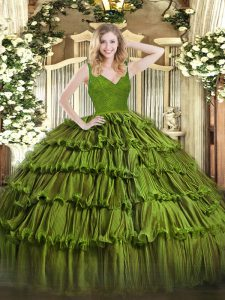 Olive Green V-neck Neckline Beading and Lace and Ruffled Layers Sweet 16 Dresses Sleeveless Backless