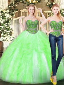Sweet Floor Length Yellow Green Quince Ball Gowns Sweetheart Sleeveless Lace Up
