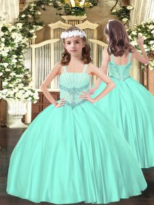 Fashionable Sleeveless Satin Floor Length Lace Up Little Girls Pageant Dress Wholesale in Apple Green with Beading