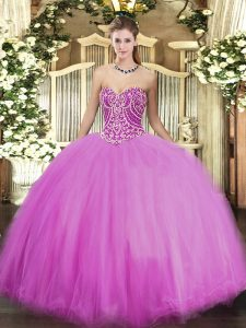 Fantastic Sweetheart Sleeveless Tulle 15th Birthday Dress Beading Lace Up