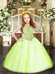 Glorious Yellow Green Zipper Scoop Beading and Appliques Little Girls Pageant Gowns Tulle Sleeveless