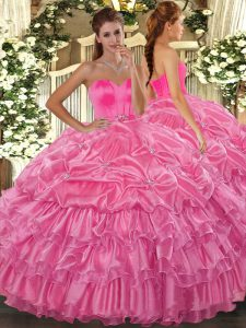 Cheap Floor Length Rose Pink Sweet 16 Dress Sweetheart Sleeveless Lace Up