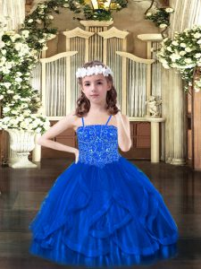 Blue Ball Gowns Beading and Ruffles Pageant Dress Womens Lace Up Tulle Sleeveless Floor Length