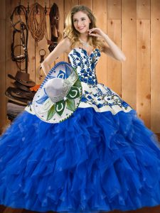 Blue Lace Up Sweet 16 Dress Embroidery and Ruffles Sleeveless Floor Length