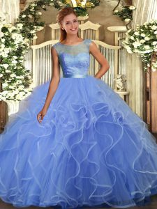 Custom Design Sleeveless Floor Length Lace and Ruffles Backless 15th Birthday Dress with Blue