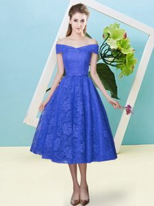 Deluxe Bowknot Quinceanera Court of Honor Dress Blue Lace Up Cap Sleeves Tea Length
