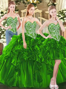 Dark Green Ball Gowns Tulle Sweetheart Sleeveless Beading and Ruffles Floor Length Lace Up Quince Ball Gowns