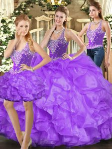 Straps Sleeveless Lace Up 15th Birthday Dress Eggplant Purple Tulle