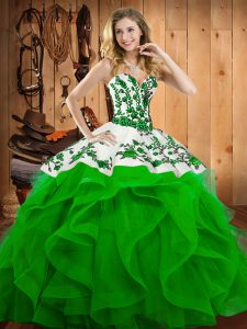 Adorable Green Sleeveless Floor Length Embroidery Lace Up Sweet 16 Dresses