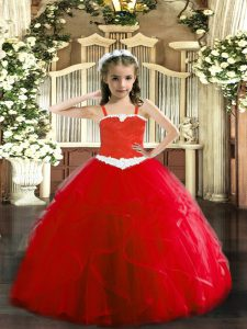 Fashionable Red Sleeveless Tulle Lace Up High School Pageant Dress for Party and Quinceanera