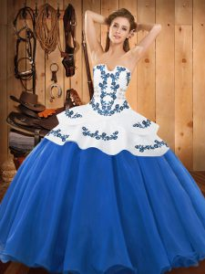 Satin and Organza Strapless Sleeveless Lace Up Embroidery Quinceanera Gown in Blue