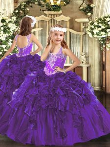 Exquisite Beading and Ruffles Little Girl Pageant Dress Purple Lace Up Sleeveless Floor Length