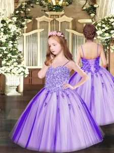 Unique Lavender Sleeveless Floor Length Appliques Lace Up Pageant Dress Toddler