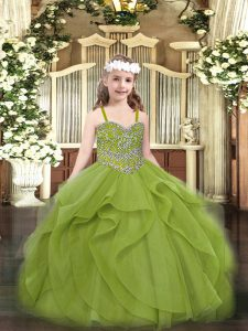 Olive Green Sleeveless Floor Length Beading and Ruffles Lace Up Kids Formal Wear