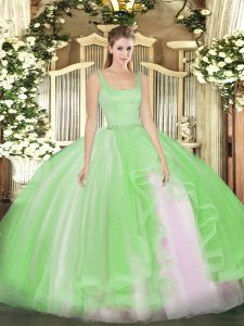 Fantastic Floor Length Ball Gowns Sleeveless Quince Ball Gowns Zipper