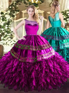 Scoop Sleeveless Sweet 16 Quinceanera Dress Floor Length Beading and Ruffles Fuchsia Organza and Taffeta