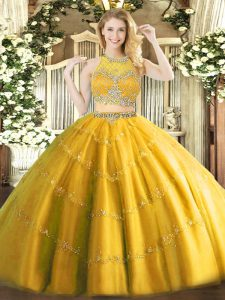 Gold Sleeveless Tulle Zipper Quinceanera Dress for Military Ball and Sweet 16 and Quinceanera