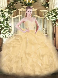 Trendy Floor Length Gold Ball Gown Prom Dress Sweetheart Sleeveless Lace Up