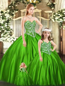 Sweetheart Sleeveless Sweet 16 Dresses Floor Length Beading Green Organza