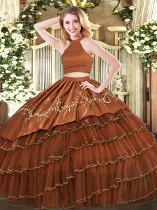 Brown Organza Backless Halter Top Sleeveless Floor Length Ball Gown Prom Dress Beading and Embroidery and Ruffled Layers