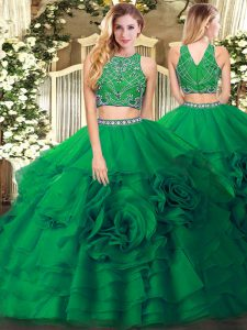 Free and Easy Dark Green Tulle Zipper 15th Birthday Dress Sleeveless Floor Length Beading and Ruffled Layers