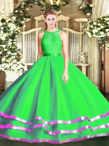 Pretty Green Tulle Zipper Quinceanera Dress Sleeveless Floor Length Lace