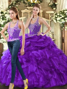 New Style Eggplant Purple Sleeveless Floor Length Beading and Ruffles Lace Up Quinceanera Dress