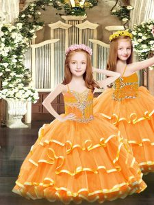 Most Popular Orange Lace Up Girls Pageant Dresses Beading and Ruffled Layers Sleeveless Floor Length
